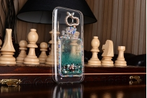 Фирменная роскошная элитная пластиковая задняя панель-накладка украшенная стразами кристалликами со втроенным АКВАРИУМОМ для Samsung Galaxy A5 SM-A520F (2017) синяя