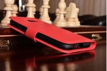 Фирменный чехол-книжка из качественной импортной кожи с подставкой застёжкой и визитницей для Samsung Galaxy A5 SM-A520F (2017) красный