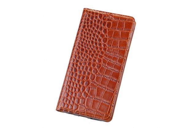 Фирменный чехол-книжка с подставкой для Samsung Galaxy A5 SM-A520F (2017) лаковая кожа крокодила коричневый