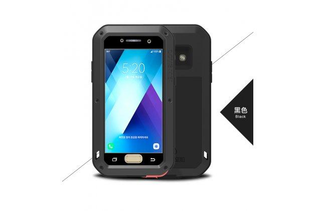 Неубиваемый водостойкий противоударный водонепроницаемый грязестойкий влагозащитный ударопрочный фирменный чехол-бампер для Samsung Galaxy A5 SM-A520F (2017) цельно-металлический со стеклом Gorilla Glass черный