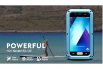 Неубиваемый водостойкий противоударный водонепроницаемый грязестойкий влагозащитный ударопрочный фирменный чехол-бампер для Samsung Galaxy A5 SM-A520F (2017) цельно-металлический со стеклом Gorilla Glass синий