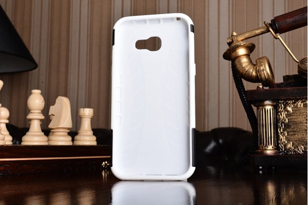 Противоударный усиленный ударопрочный фирменный чехол-бампер-пенал для Samsung Galaxy A5 SM-A520F (2017) белый