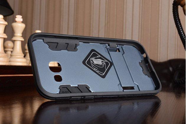 Противоударный усиленный ударопрочный фирменный чехол-бампер-пенал для Samsung Galaxy A5 SM-A520F (2017) черный