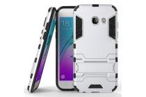Противоударный усиленный ударопрочный фирменный чехол-бампер-пенал для Samsung Galaxy A5 SM-A520F (2017) серебристый
