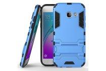 Противоударный усиленный ударопрочный фирменный чехол-бампер-пенал для Samsung Galaxy A5 SM-A520F (2017) синий