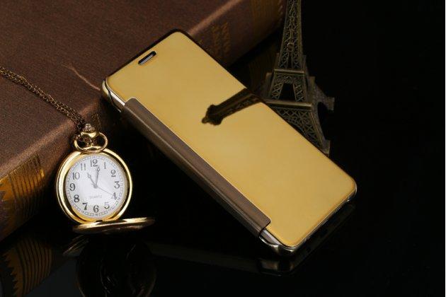 Чехол-книжка с дизайном Clear View Cover полупрозрачный с зеркальной поверхностью для Samsung Galaxy A9 Pro SM-A910F/DS 6.0 золотой