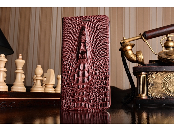 Фирменный роскошный эксклюзивный чехол с объёмным 3D изображением рельефа кожи крокодила красный для Samsung G..