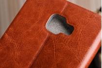 Фирменный чехол-книжка водоотталкивающий с мульти-подставкой на жёсткой металлической основе для  Samsung Galaxy A9 Pro SM-A910F/DS 6.0 коричневый