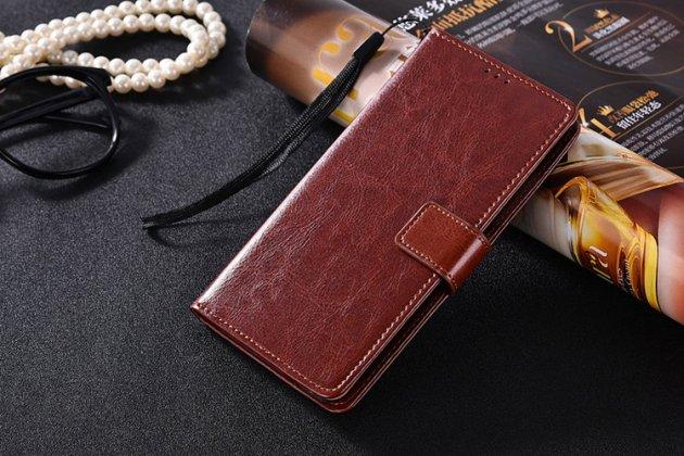 Фирменный чехол-книжка из качественной импортной кожи с подставкой застёжкой и визитницей для Samsung Galaxy C5 Pro / Galaxy C5 2017 (SM-C5010) коричневый