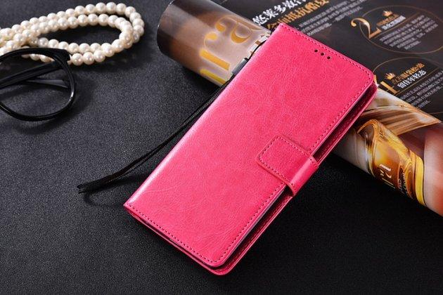 Фирменный чехол-книжка из качественной импортной кожи с подставкой застёжкой и визитницей для Samsung Galaxy C5 Pro / Galaxy C5 2017 (SM-C5010) розовый