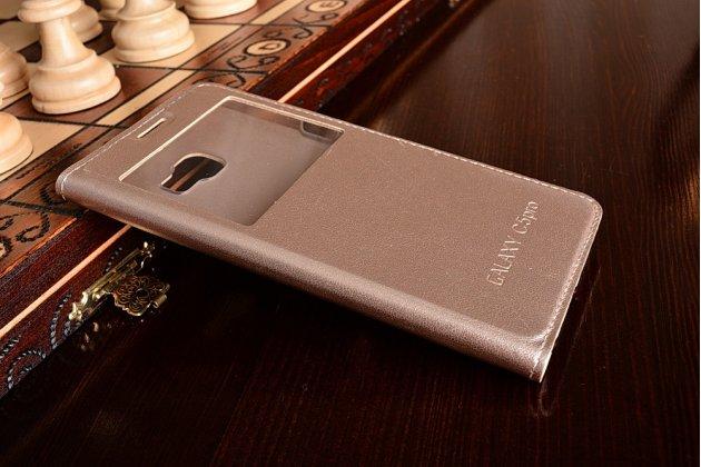 Фирменный оригинальный чехол-книжка для Samsung Galaxy C5 Pro / Galaxy C5 2017 (SM-C5010) золотой с окошком для входящих вызовов водоотталкивающий