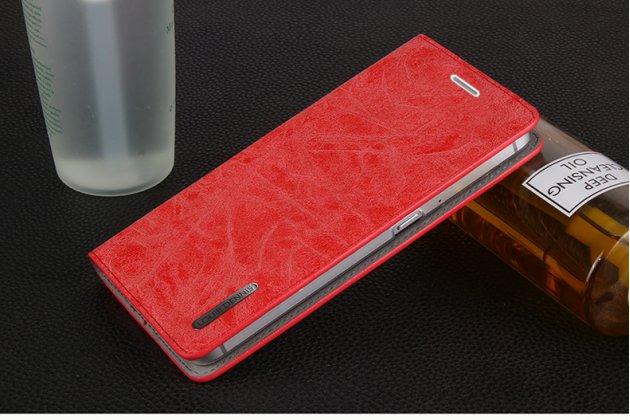 Фирменный премиальный элитный чехол-книжка из качественной импортной кожи с мульти-подставкой и визитницей для Samsung Galaxy C5 Pro / Galaxy C5 2017 (SM-C5010)  Ретро красный