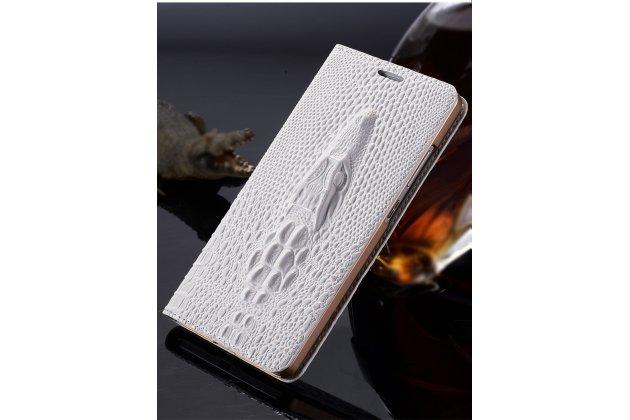 Фирменный роскошный эксклюзивный чехол с объёмным 3D изображением кожи крокодила белый для Samsung Galaxy C5 Pro / Galaxy C5 2017 (SM-C5010) . Только в нашем магазине. Количество ограничено