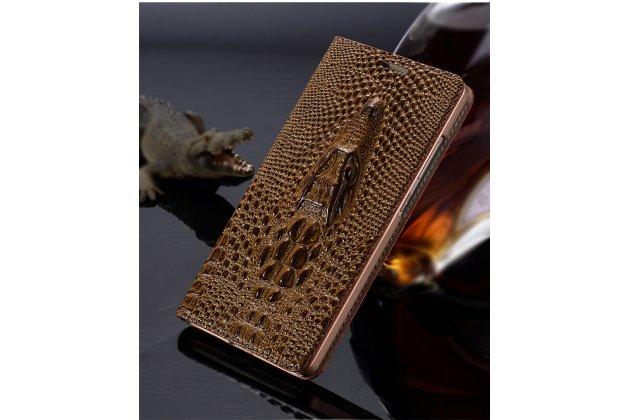 Фирменный роскошный эксклюзивный чехол с объёмным 3D изображением кожи крокодила коричневый для Samsung Galaxy C5 Pro / Galaxy C5 2017 (SM-C5010) . Только в нашем магазине. Количество ограничено