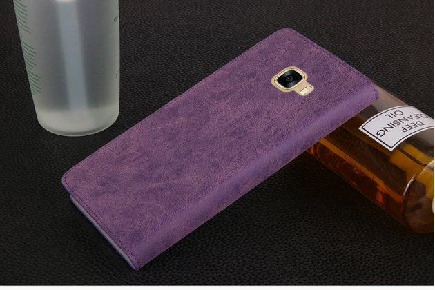 Фирменный премиальный элитный чехол-книжка из качественной импортной кожи с мульти-подставкой и визитницей для Samsung Galaxy C7 Pro SM-C7010  Ретро фиолетовый