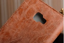 Фирменный премиальный элитный чехол-книжка из качественной импортной кожи с мульти-подставкой и визитницей для Samsung Galaxy C7 Pro SM-C7010  Ретро коричневый