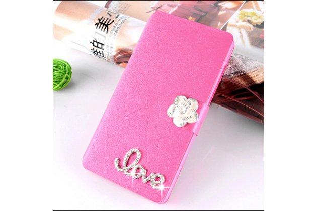 Фирменный роскошный чехол-книжка безумно красивый декорированный бусинками и кристаликами на Samsung Galaxy C7 Pro SM-C7010 розовый