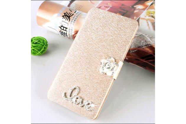 Фирменный роскошный чехол-книжка безумно красивый декорированный бусинками и кристаликами на Samsung Galaxy C7 Pro SM-C7010 золотой