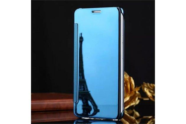 Чехол-книжка с дизайном Clear View Cover полупрозрачный с зеркальной поверхностью для Samsung Galaxy C9 Pro (SM-C9000) голубой