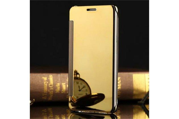 Чехол-книжка с дизайном Clear View Cover полупрозрачный с зеркальной поверхностью для Samsung Galaxy C9 Pro (SM-C9000) золотой