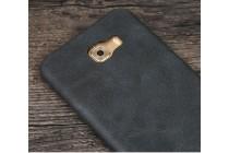 Фирменная премиальная элитная крышка-накладка из тончайшего прочного пластика и качественной импортной кожи для Samsung Galaxy C9 Pro (SM-C9000)  Ретро под старину черная