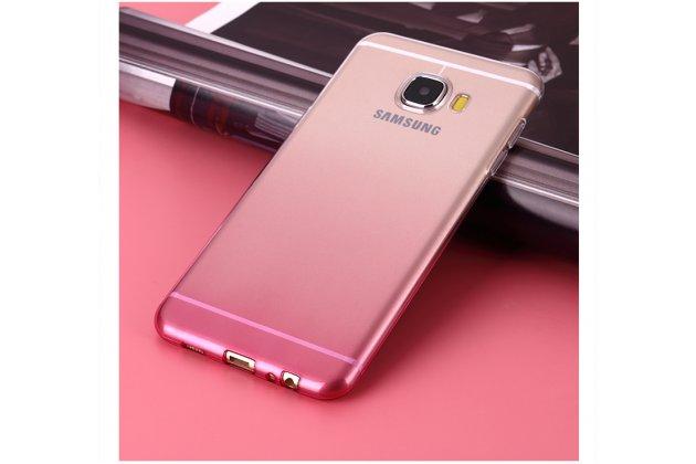 Фирменная ультра-тонкая полимерная задняя панель-чехол-накладка из силикона для Samsung Galaxy C9 Pro (SM-C9000) прозрачная с эффектом грозы