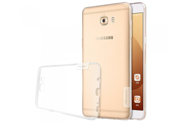 Фирменная задняя панель-чехол-накладка с защитными заглушками с защитой боковых кнопок для Samsung Galaxy C9 Pro (SM-C9000) прозрачная