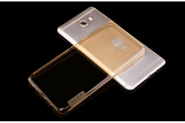 Фирменная задняя панель-чехол-накладка с защитными заглушками с защитой боковых кнопок для Samsung Galaxy C9 Pro (SM-C9000) прозрачная золотая