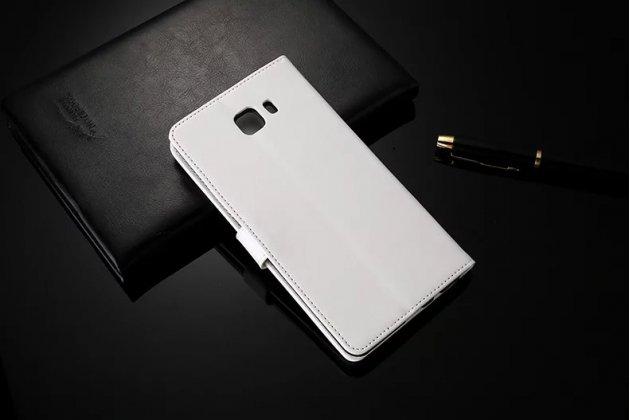 Фирменный чехол-книжка из качественной импортной кожи с подставкой застёжкой и визитницей для Samsung Galaxy C9 Pro (SM-C9000) белый