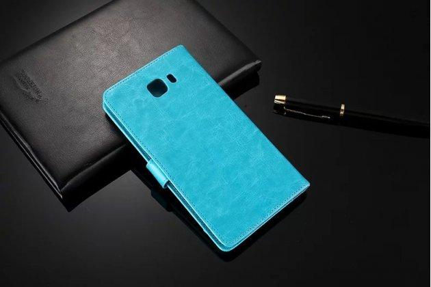 Фирменный чехол-книжка из качественной импортной кожи с подставкой застёжкой и визитницей для Samsung Galaxy C9 Pro (SM-C9000) голубой