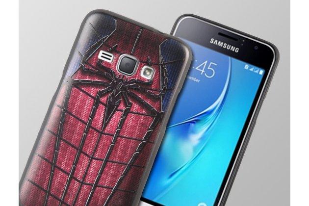 """Фирменная уникальная задняя панель-крышка-накладка из тончайшего силикона для Samsung Galaxy J1 2016 SM-J120F/DS с объёмным 3D рисунком """"Человек-паук"""""""