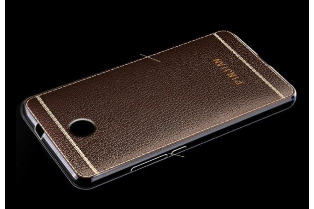 Фирменная ультра-тонкая полимерная из мягкого качественного силикона задняя панель-чехол-накладка с дизайном под кожу для Samsung Galaxy J1 2016 SM-J120F/DS коричневая