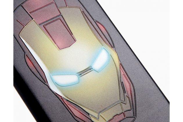 """Фирменная уникальная задняя панель-крышка-накладка из тончайшего силикона для Samsung Galaxy J1 2016 SM-J120F/DS  с объёмным 3D рисунком """"Железный человек"""""""