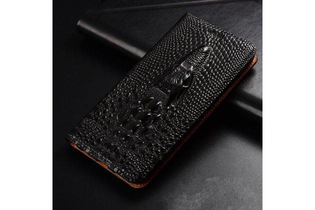 Фирменный роскошный эксклюзивный чехол с объёмным 3D изображением кожи крокодила черный для Samsung Galaxy J1 2016 SM-J120F/DS. Только в нашем магазине. Количество ограничено