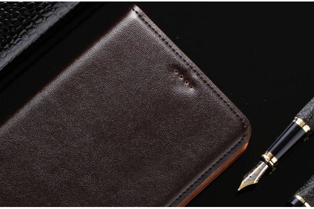 Фирменный чехол-книжка из качественной импортной кожи с мульти-подставкой и визитницей для Samsung Galaxy J1 2016 SM-J120F/DS темно-коричневый