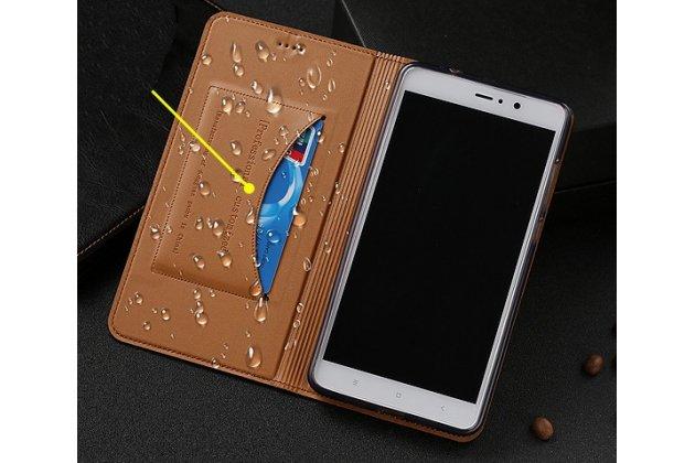 Фирменный чехол-книжка из качественной импортной кожи с мульти-подставкой и визитницей для Samsung Galaxy J1 2016 SM-J120F/DS коричневый