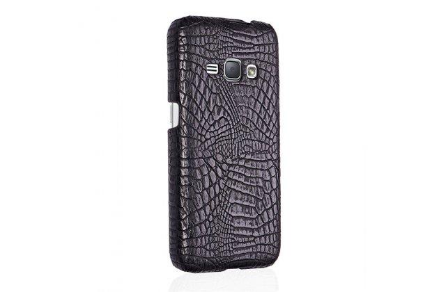 Фирменная роскошная элитная премиальная задняя панель-крышка для Samsung Galaxy J1 2016 SM-J120F/DS из лаковой кожи крокодила черная