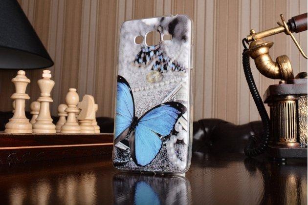 Фирменная уникальная задняя панель-крышка-накладка из тончайшего силикона для Samsung Galaxy J2 Prime (2016)/Grand Prime Plus SM-G532F с объёмным 3D рисунком тематика Бабочка