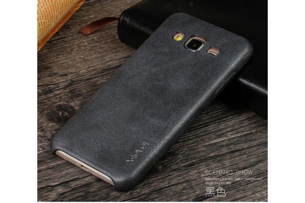 Фирменная премиальная элитная крышка-накладка из тончайшего прочного пластика и качественной импортной кожи  для Samsung Galaxy J2 Prime (2016)/Grand Prime Plus SM-G532F  Ретро под старину черная