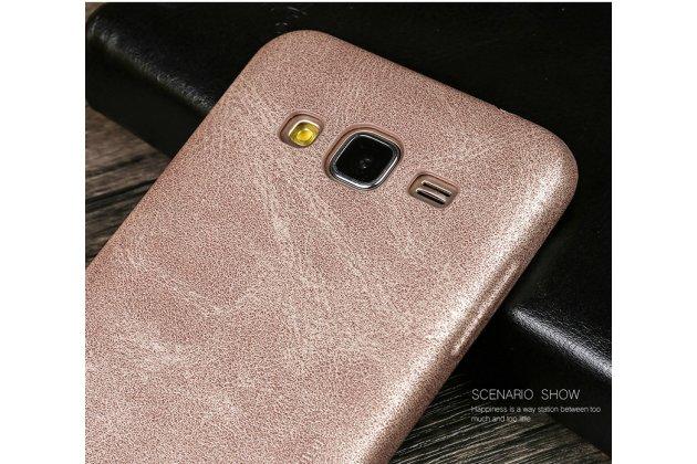 Фирменная премиальная элитная крышка-накладка из тончайшего прочного пластика и качественной импортной кожи  для Samsung Galaxy J2 Prime (2016)/Grand Prime Plus SM-G532F  Ретро под старину золотая