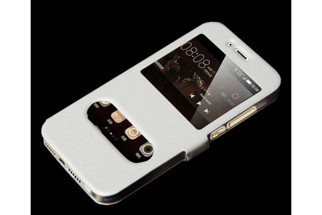 Фирменный чехол-книжка для Samsung Galaxy J2 Prime (2016)/Grand Prime Plus SM-G532F белый с окошком для входящих вызовов и свайпом водоотталкивающий