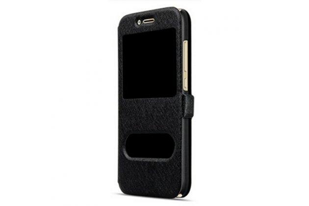 Фирменный чехол-книжка для Samsung Galaxy J2 Prime (2016)/Grand Prime Plus SM-G532F черный с окошком для входящих вызовов и свайпом водоотталкивающий