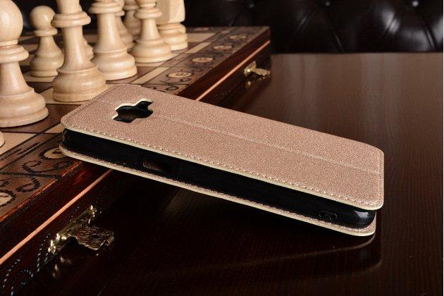 Фирменный чехол-книжка  из качественной импортной кожи водоотталкивающий для Samsung Galaxy J2 Prime (2016)/Grand Prime Plus SM-G532F золотой