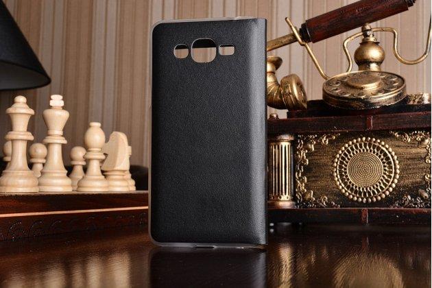 Фирменный оригинальный чехол-книжка для Samsung Galaxy J2 Prime (2016)/Grand Prime Plus SM-G532F черный  с окошком для входящих вызовов водоотталкивающий