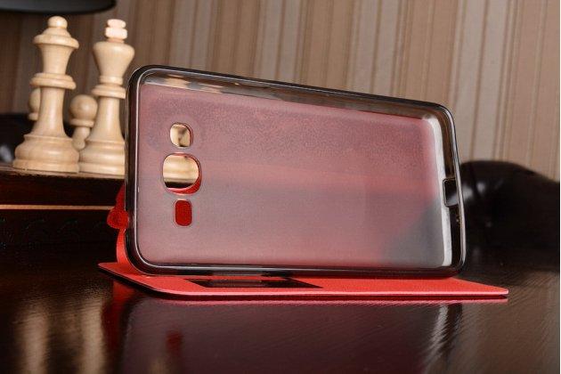 Фирменный оригинальный чехол-книжка для Samsung Galaxy J2 Prime (2016)/Grand Prime Plus SM-G532F красный с окошком для входящих вызовов водоотталкивающий