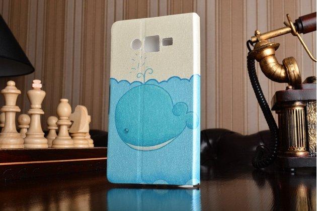 Фирменный уникальный необычный чехол-подставка для Samsung Galaxy J2 Prime (2016)/Grand Prime Plus SM-G532F  тематика Голубой Кит