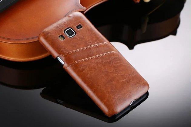 Фирменная роскошная элитная премиальная задняя панель-крышка для Samsung Galaxy J3 (2016) SM-J320F/DS/J320H/DS из качественной кожи буйвола с визитницей коричневая