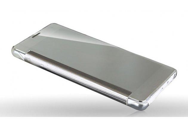 """Чехол-книжка с дизайном """"Clear View Cover"""" полупрозрачный с зеркальной поверхностью для Samsung Galaxy J3 (2016) SM-J320F/DS/J320H/DS золотой"""