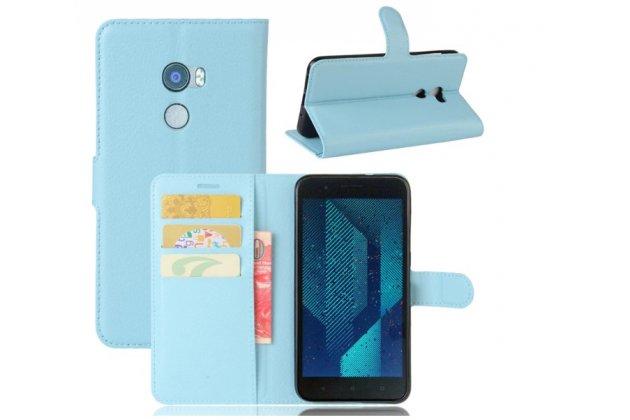 Фирменный чехол-футляр-книжка для HTC Bolt/HTC Desire 10/ Desire 10 Lifestylle голубой кожаный