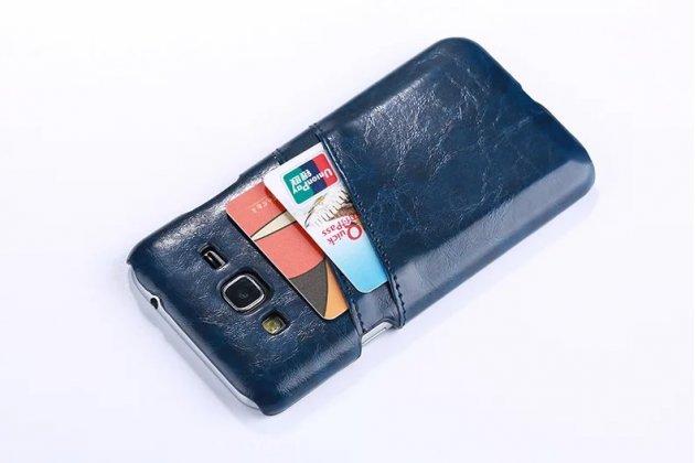 Фирменная роскошная элитная премиальная задняя панель-крышка для Samsung Galaxy J3 (2016) SM-J320F/DS/J320H/DS  из качественной кожи буйвола с визитницей синяя